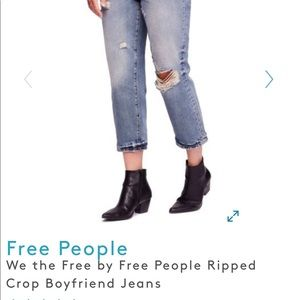 Free People ripped cropped boyfriend jeans NWT
